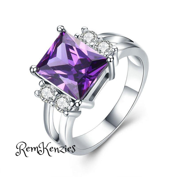 High Quality AAA Purple Stone Cocktail Ring