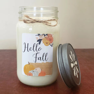 Hello Fall Mason Jar Candle | Fall Farmhouse Collection