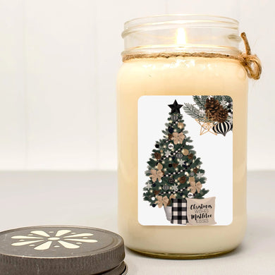 Christmas Wishes & Mistletoe Kisses Mason Jar Candle | Christmas Farmhouse Collection