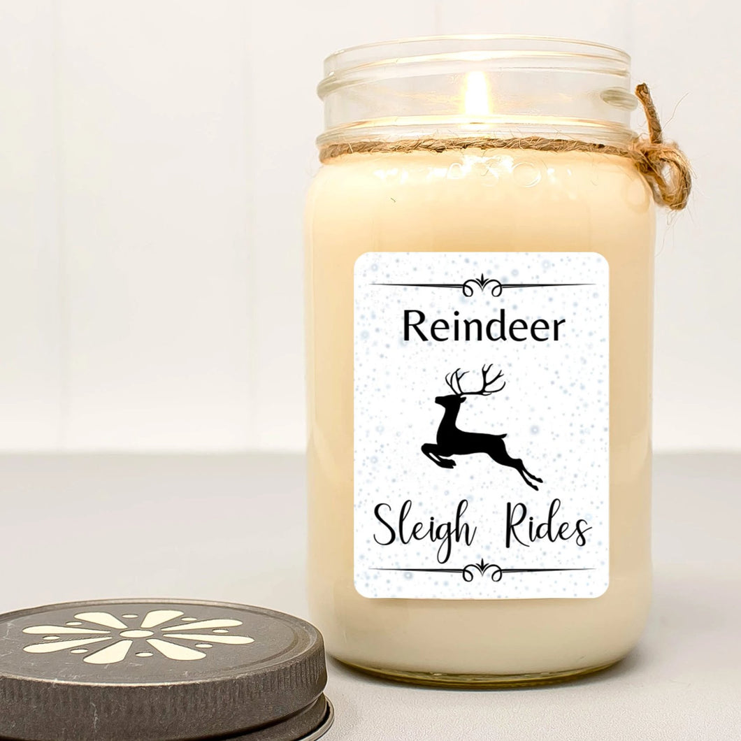 Reindeer Sleigh Rides Mason Jar Candle | Christmas Farmhouse Collection