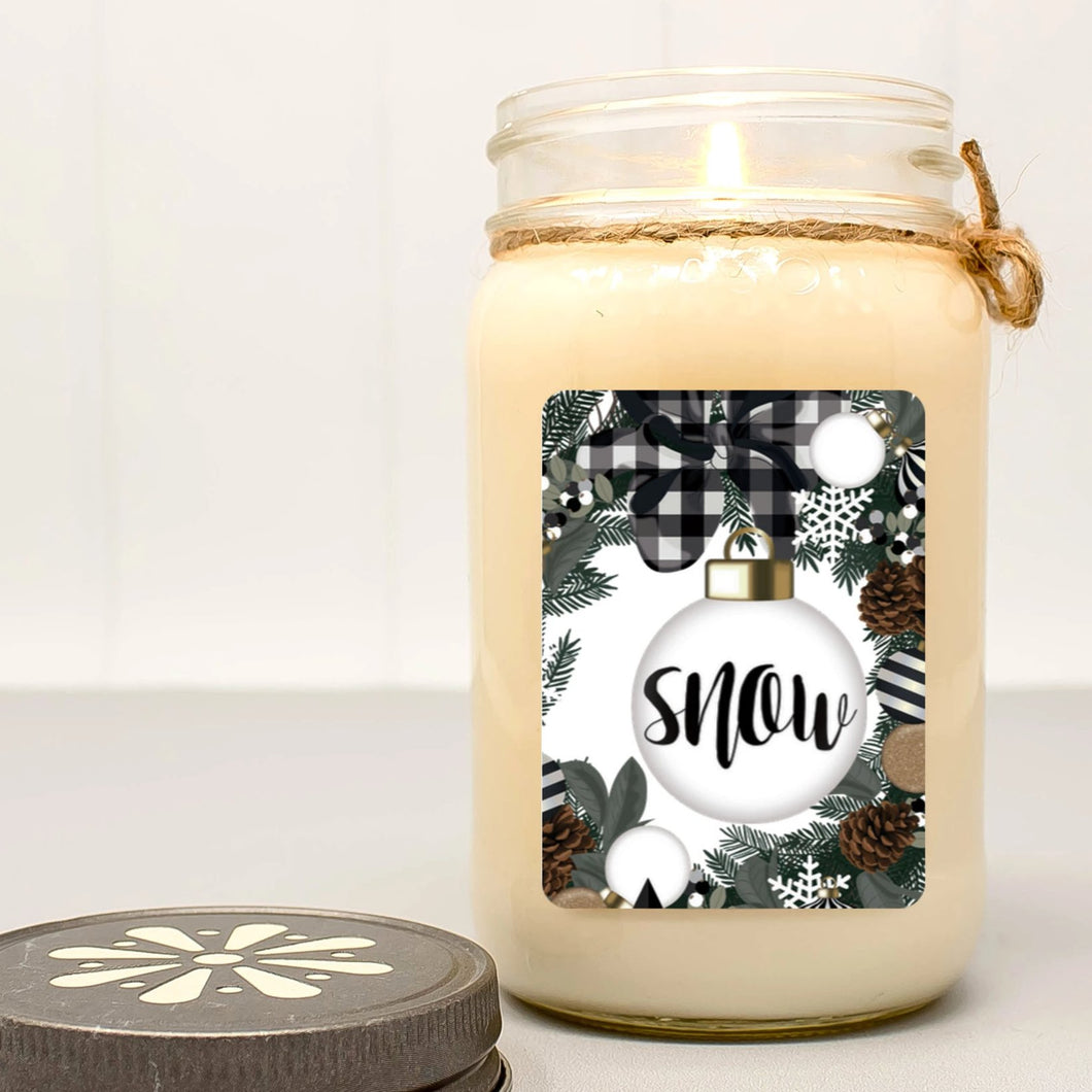 Snow Bulb Mason Jar Candle | Christmas Farmhouse Collection