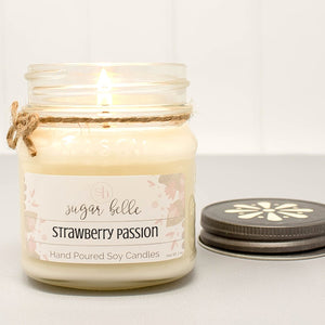 Strawberry Passion Scented Soy Candles | Mason Jars