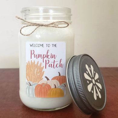 Welcome to the Pumpkin Patch Mason Jar Candle | Fall Farmhouse Collection