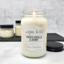 French Vanilla & Amber Scented Soy Candles | Mason Jars