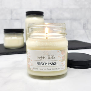 Pineapple Sage Scented Soy Candles | Mason Jars