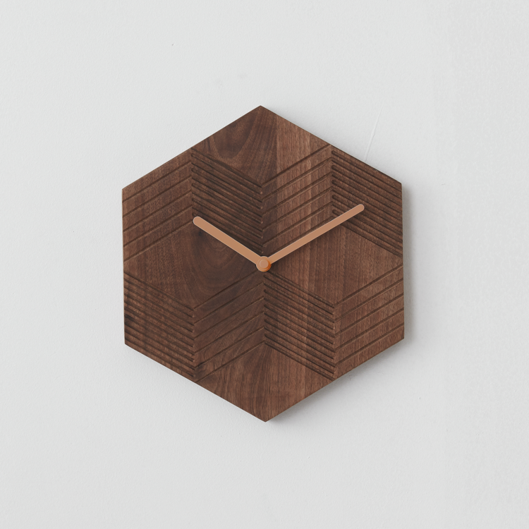 Block Wall Clock Walnut 時鐘