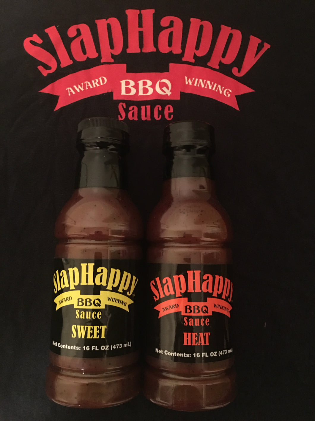 SlapHappy BBQ two bottle package including Sweet & Heat BBQ sauces