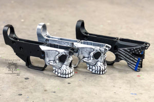 Sharps Bros Jack and Overthrow Battleworn Cerakote Thin Blue Line lower receiver Skull Spartan AR15