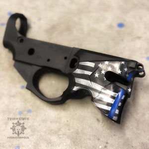 Sharps Bros Overthrow lower receiver Cerakote Battleworn Thin Blue Line Stars and Stripes AR15 Thin Blue Line Flag