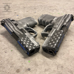 Battleworn Thin Blue Line Stars and Stripes Cerakote Handgun Glock Sig Sauer Smith and Wesson M&P Shield 1911 Pistol Blue Line flag Police Cops Firefighter Military Veteran