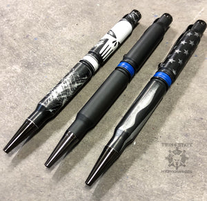 308 Bullet Pen Cerakote Battleworn Thin Blue Line Punisher 308win Twist Pen Stars and Stripes Blue Line Flag