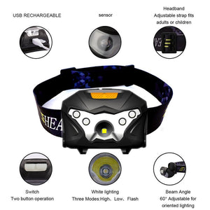 LED Headlamp with Rechargeable Battery, 3000 Lumens