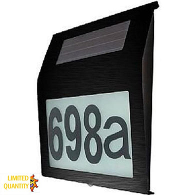 CLEARANCE Stainless Steel (Black Powder Coated) Illuminated House Number