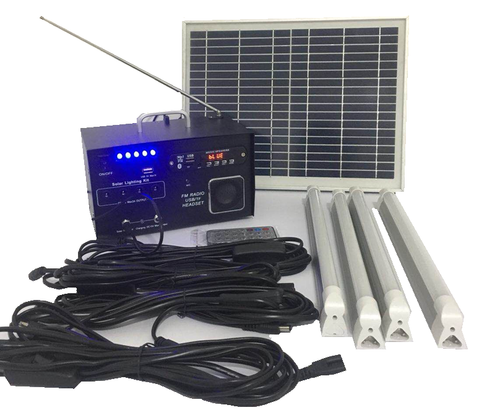 10W Portable Lighting System with 4 LED Tube Lights & Radio