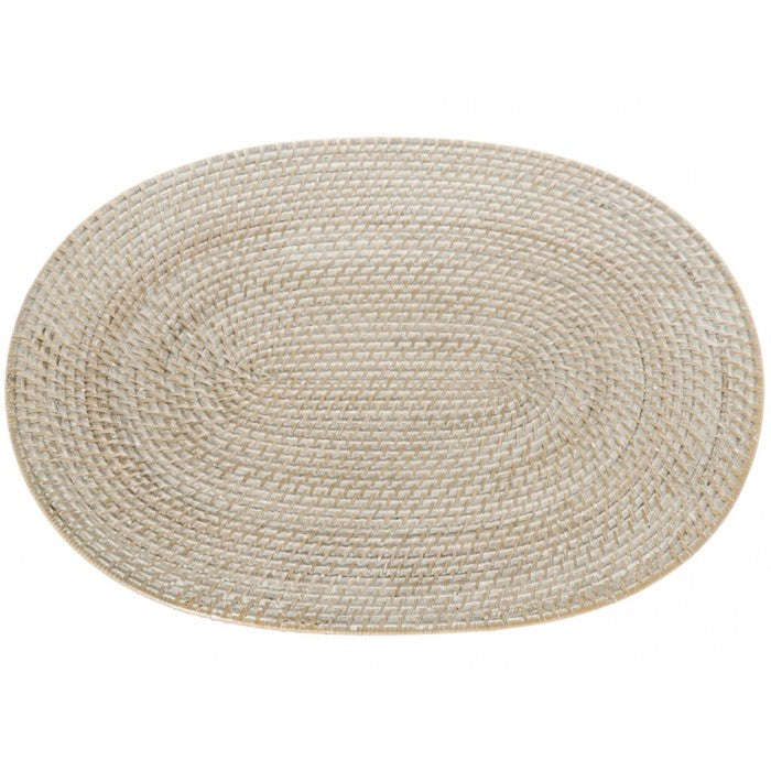 Oval Rattan Placemat Whitewash