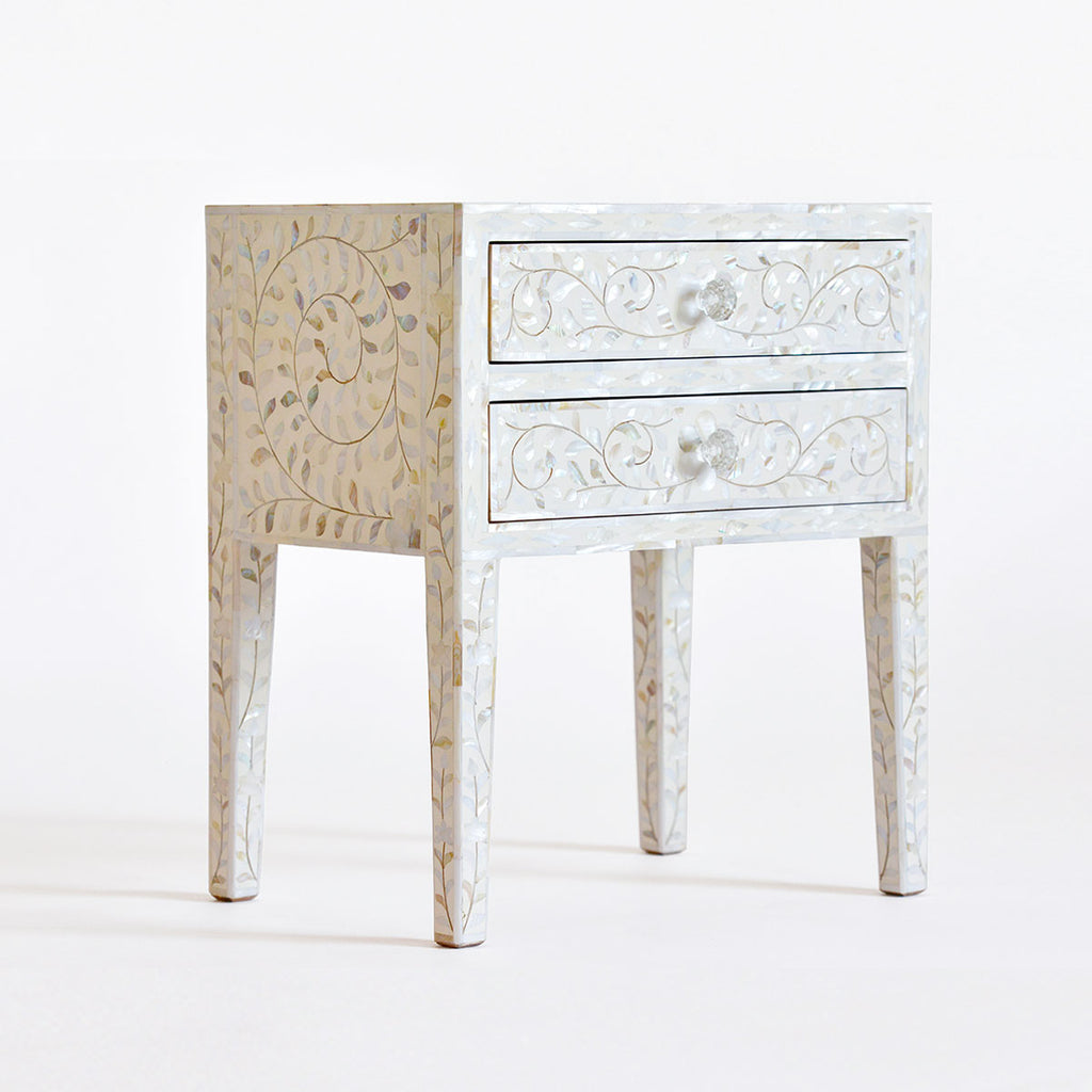 Mother Of Pearl Inlay 2 Drawer Side Table White Annabelle S