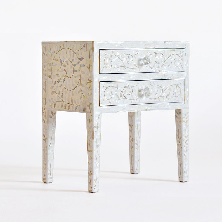 MOTHER OF PEARL INLAY 2 DRAWER SIDE TABLE / WHITE