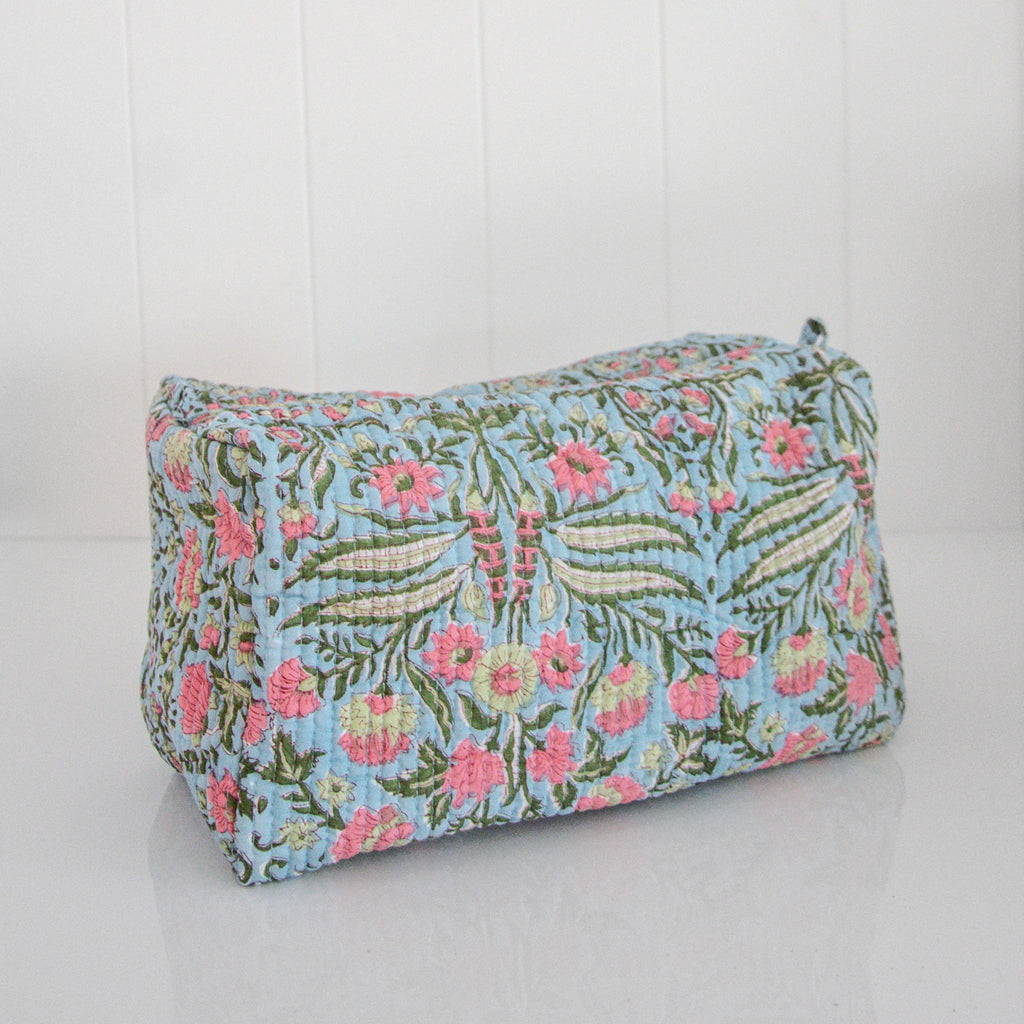 BLOCK PRINT TOILETRIES BAG / BLUE