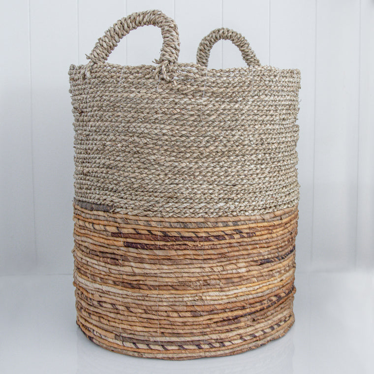 TWO TONE SEAGRASS BASKET / NATURAL
