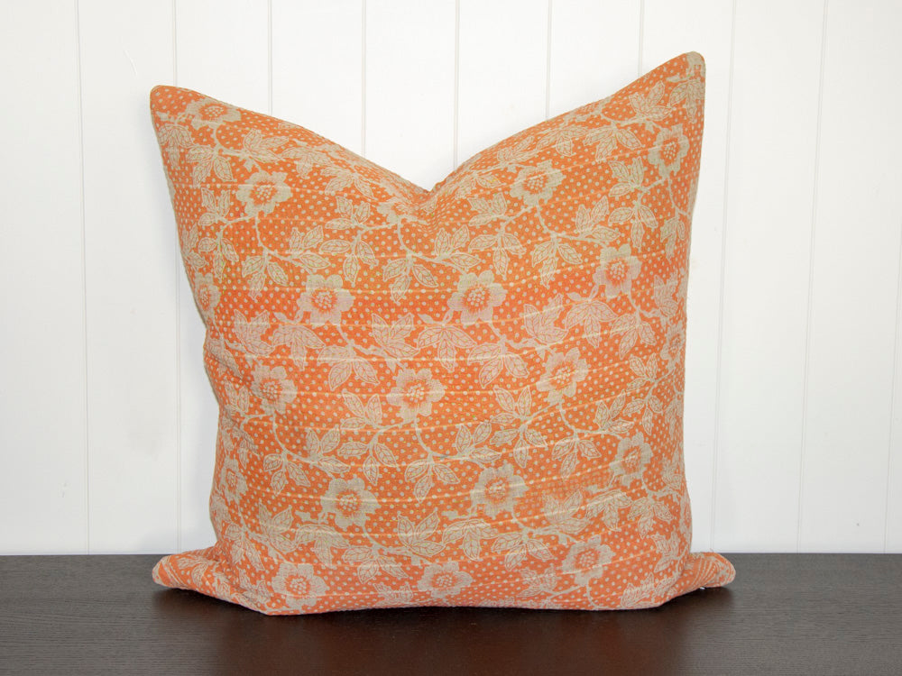 KANTHA CUSHION / ORANGE AND BEIGE