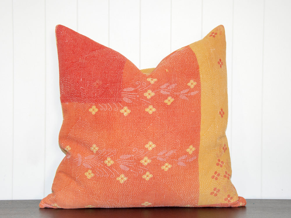 KANTHA CUSHION / MARIGOLD AND CORAL