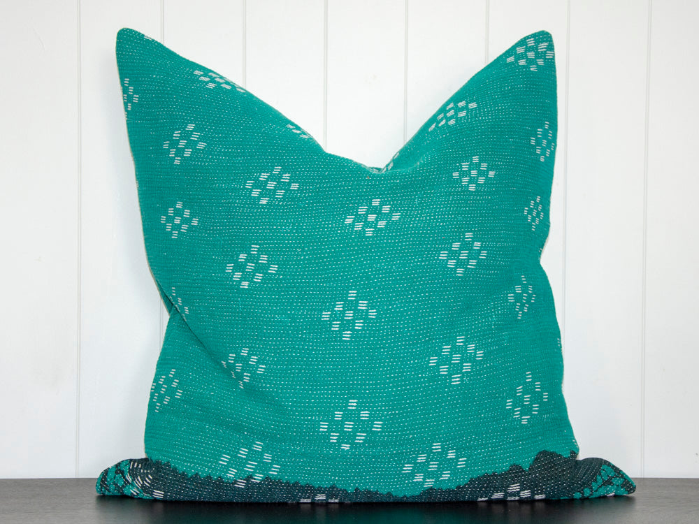 KANTHA CUSHION / TEAL