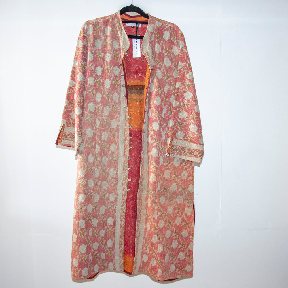 KANTHA COAT / PINK AND BEIGE