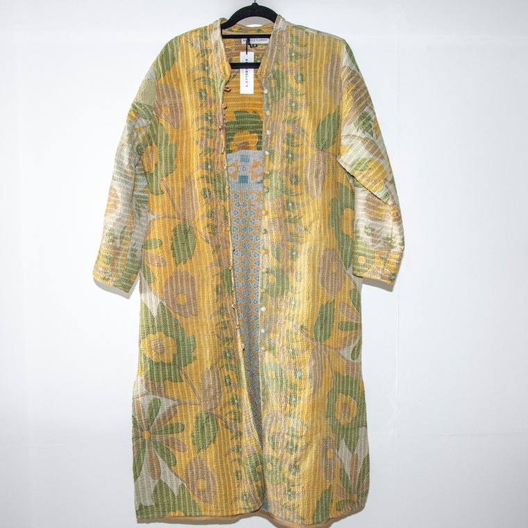KANTHA COAT / YELLOW AND GREEN