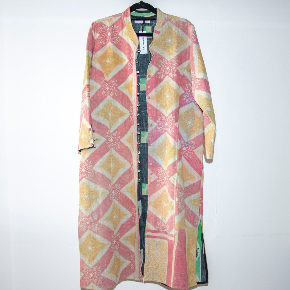 KANTHA COAT / PINK AND MUSTARD