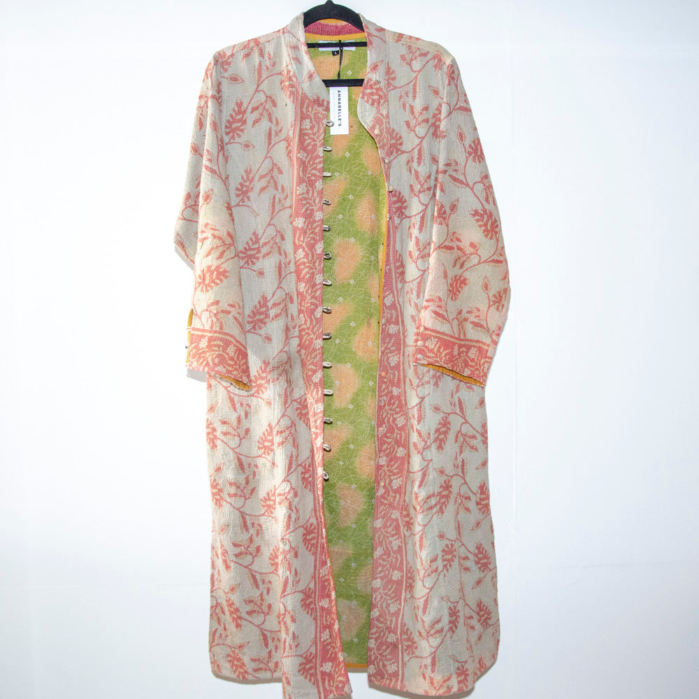 KANTHA COAT / CORAL AND CREAM