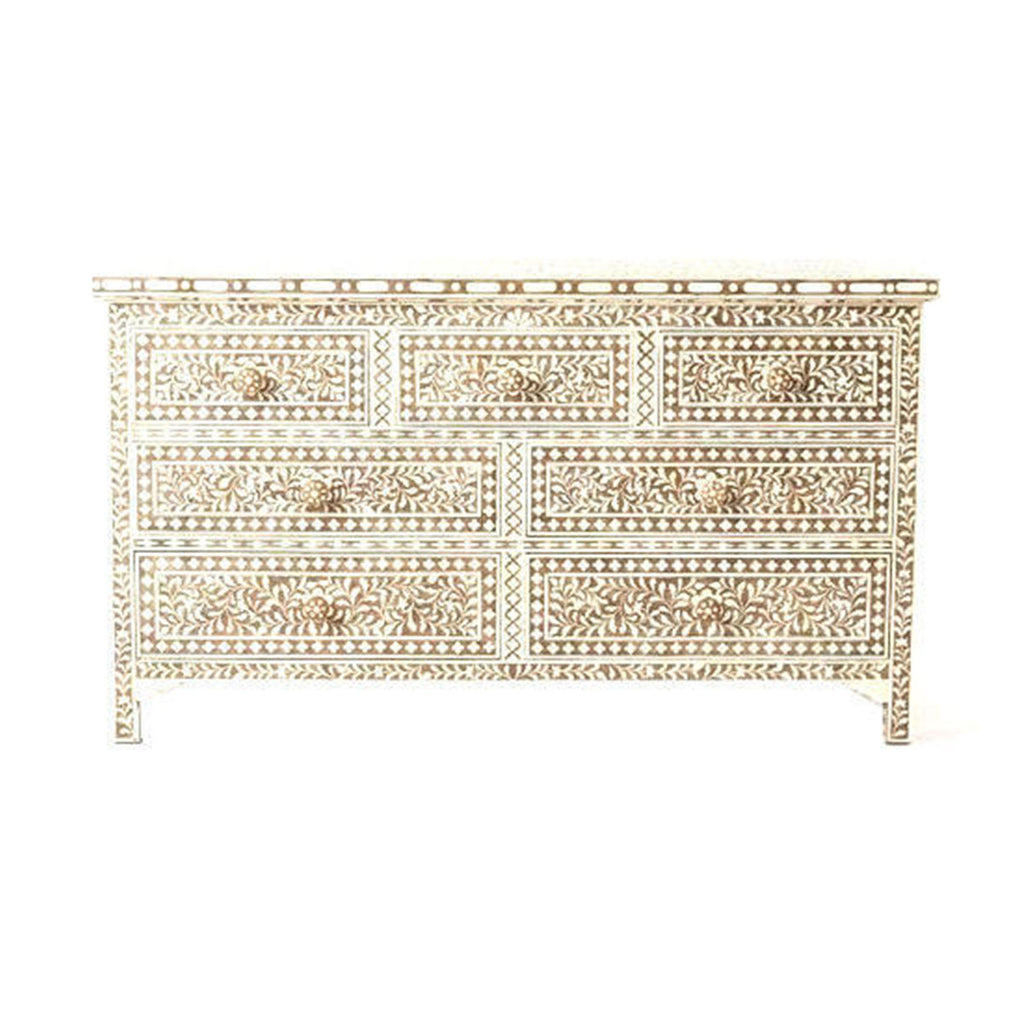BONE INLAY 7 DRAWER CHEST / CINNAMON