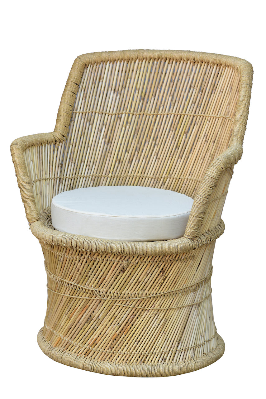 INDIAN BAMBOO CHAIR W CUSHION