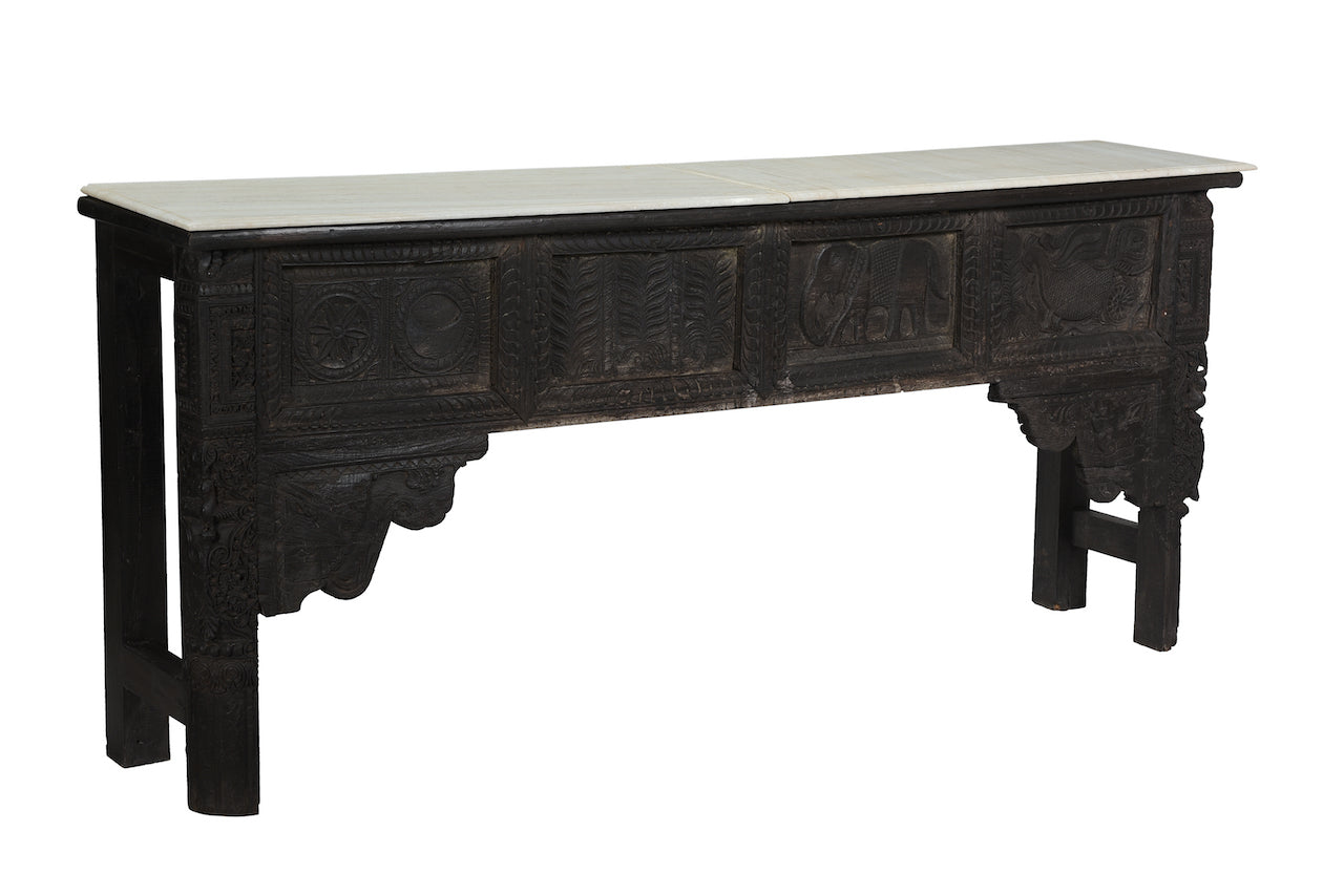 VINTAGE INDIAN CONSOLE W MARBLE TOP