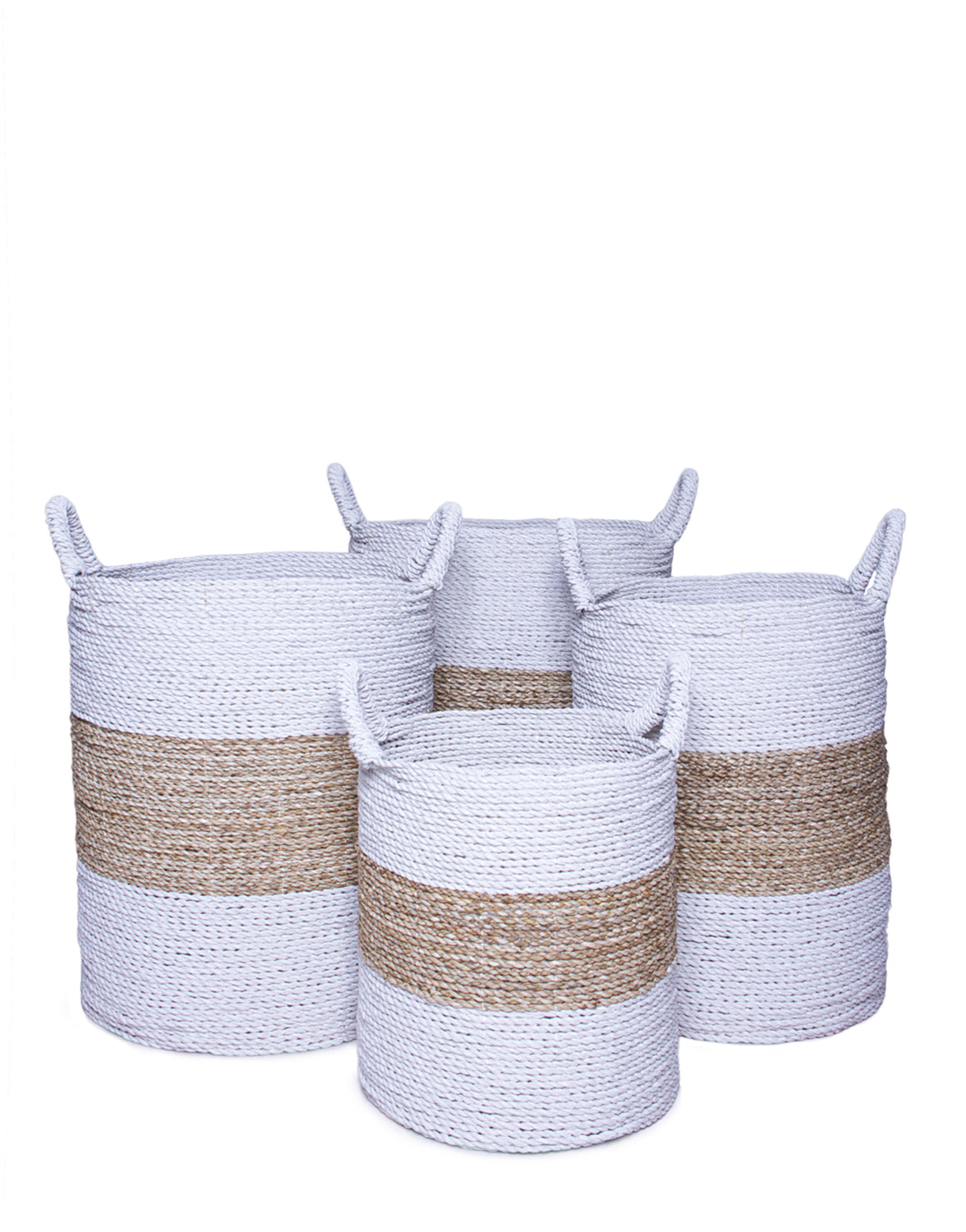 White And Natural Hand Woven Seagrass Baskets