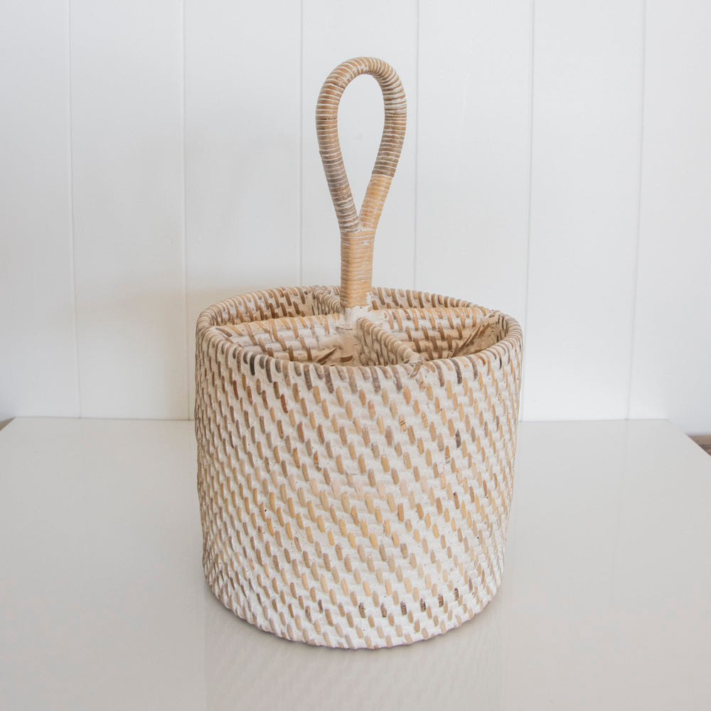 RATTAN CUTLERY HOLDER | WHITEWASH
