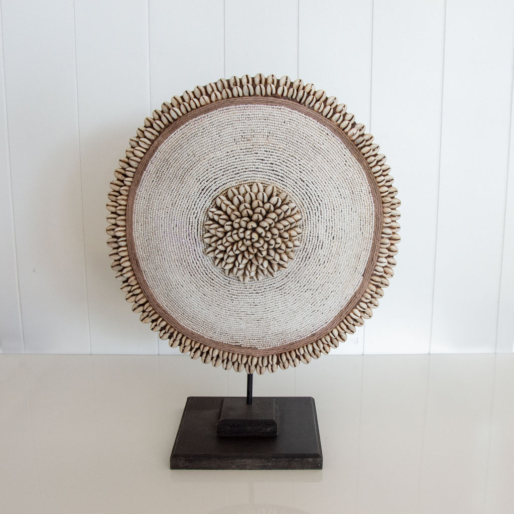 BEADED SHELL AFRICAN DISC