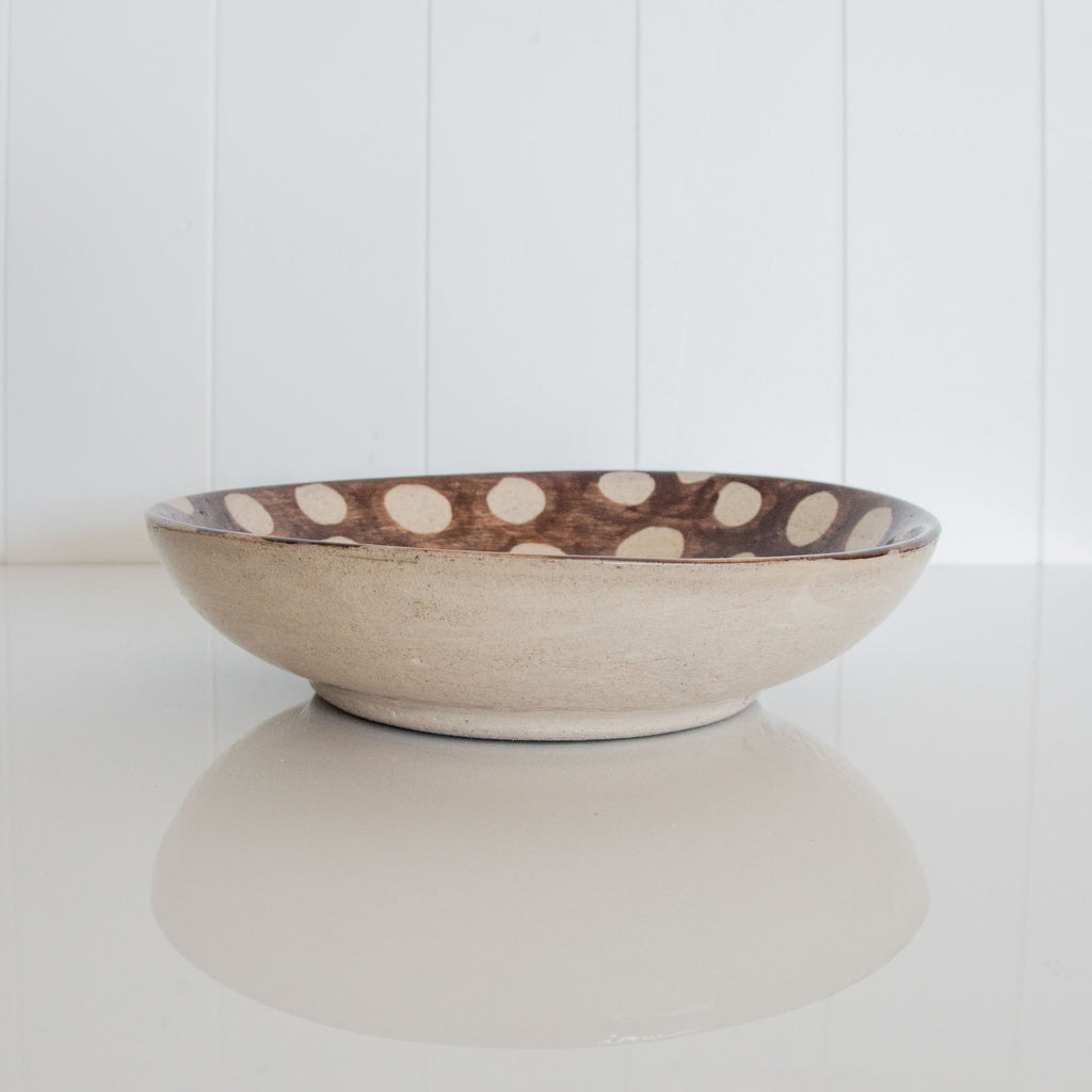 SERVING BOWL / BROWN DOT