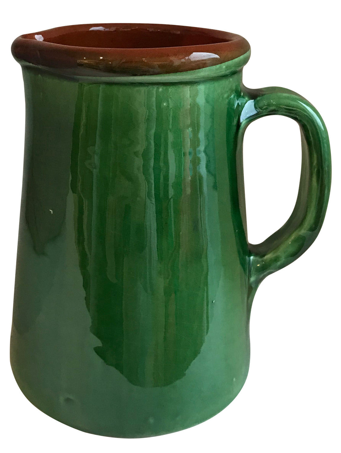 From the region of Catalonia, Spain comes this beautiful, authentic Green Spanish jug