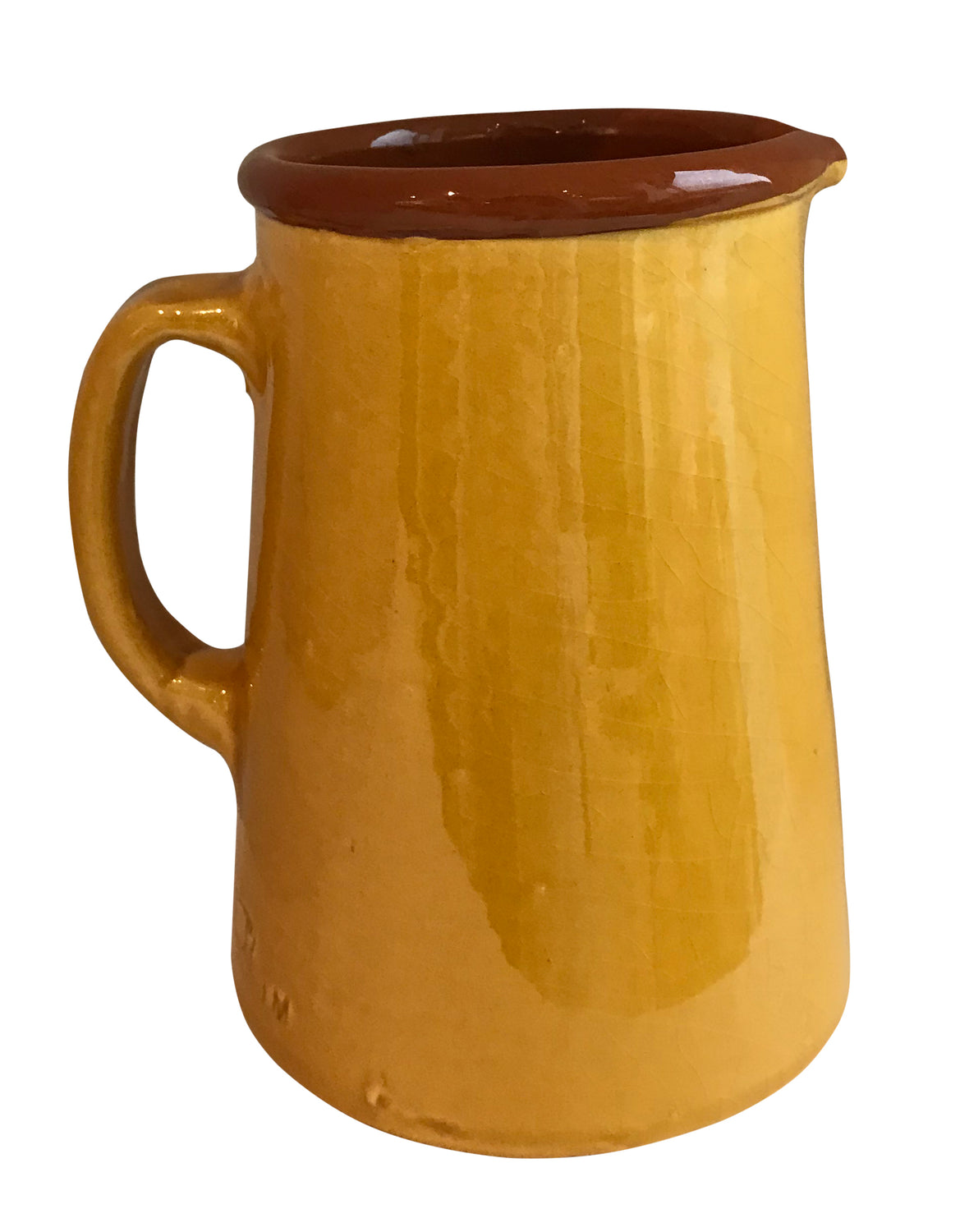 From the region of Catalonia, Spain comes this beautiful, authentic Spanish jug in Mustard
