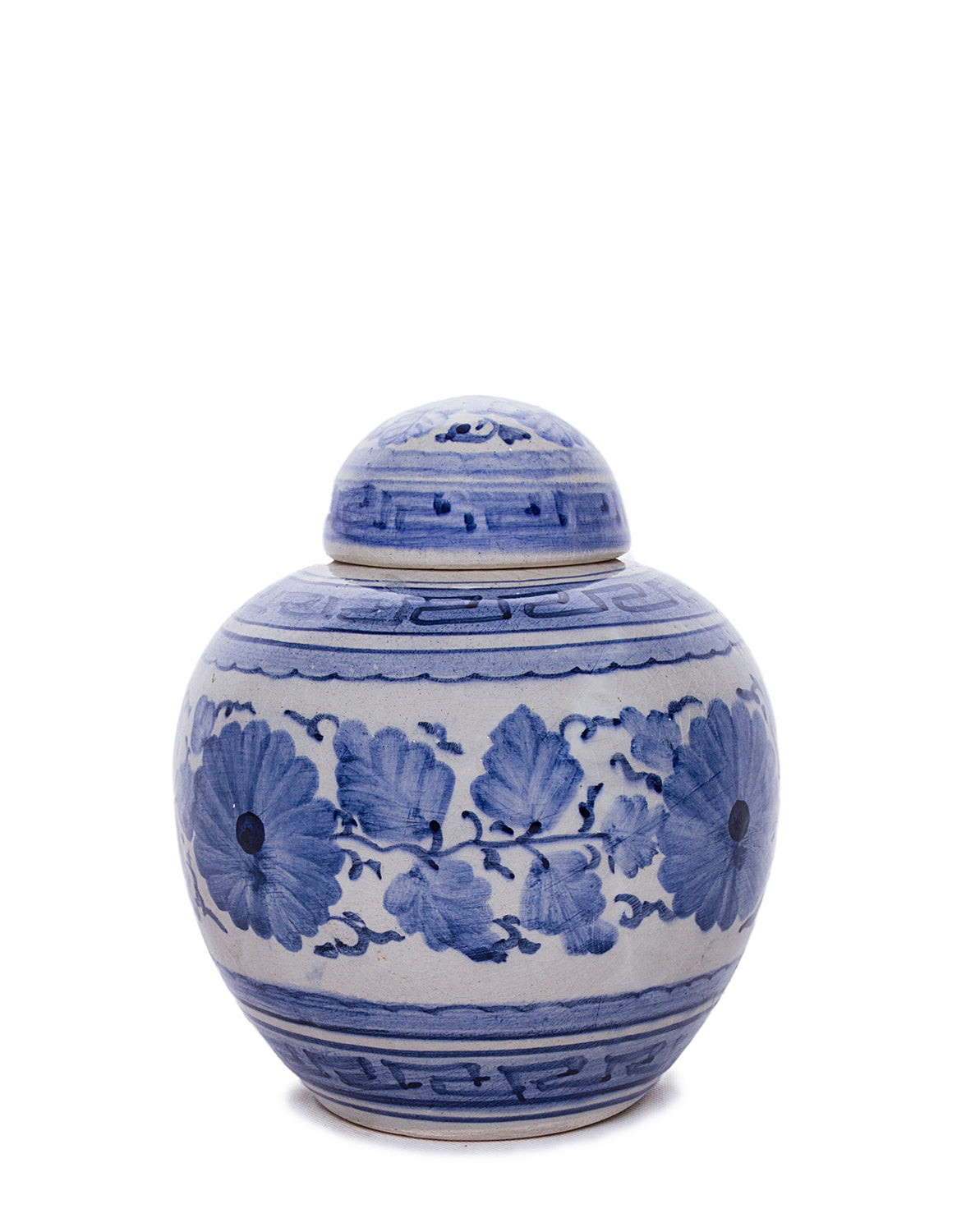 Blue and White Hand Thrown Ceramic Petite Ginger Jar