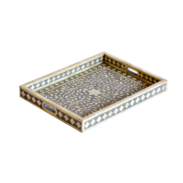 BONE INLAY TRAY / GREY