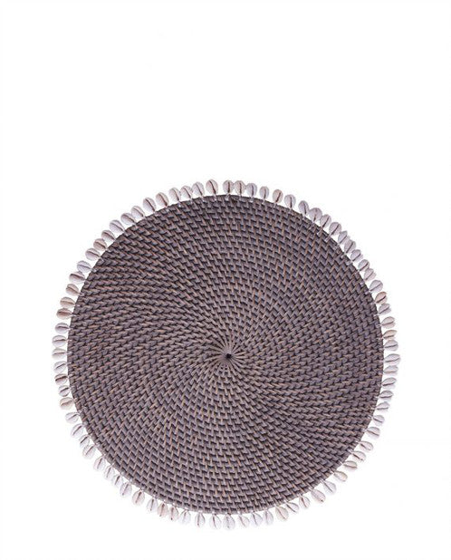 Grey Shell and Rattan Placemat