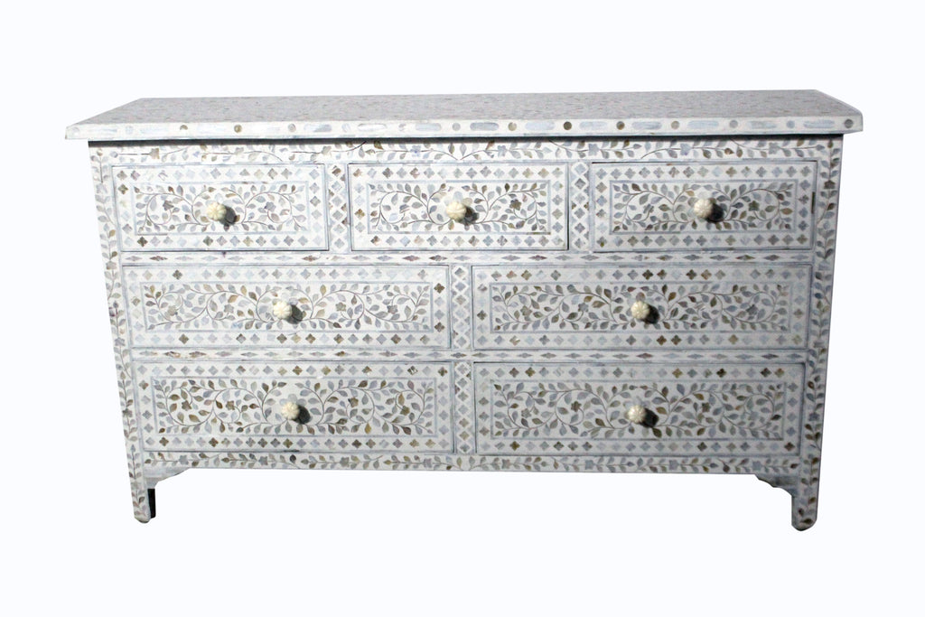 MOP INLAY 7 DRAWER CHEST / WHITE MOP