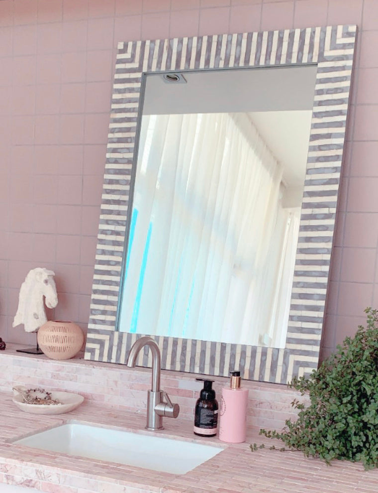 BONE INLAY MIRROR | GREY STRIPE