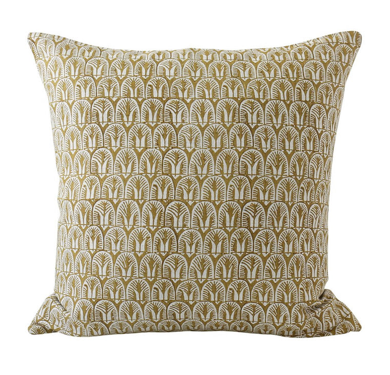 BELIZE SAFFRON LINEN BLOCK PRINT CUSHION