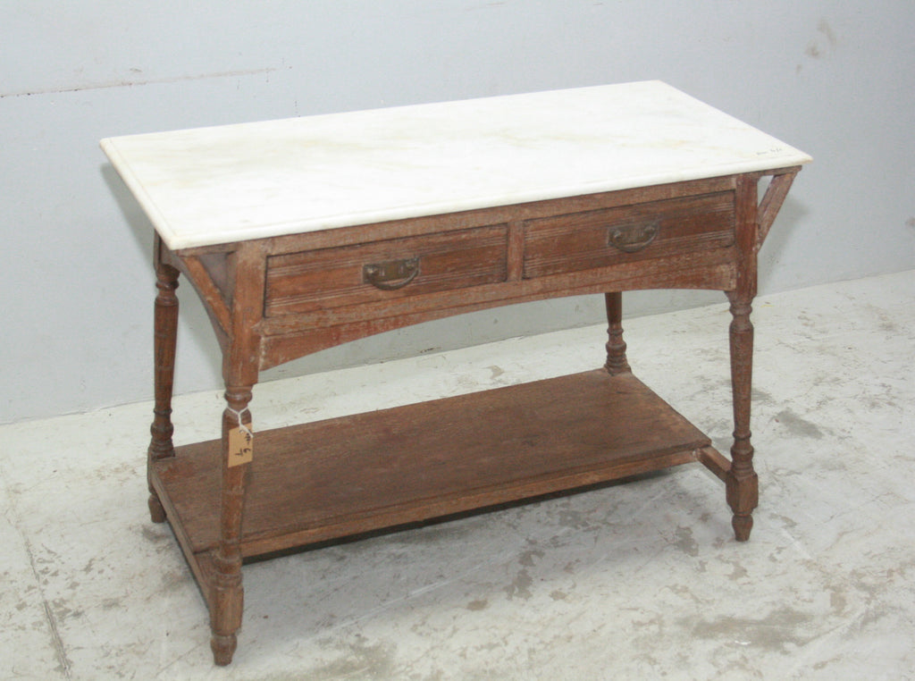 VINTAGE INDIAN DESK W MARBLE TOP