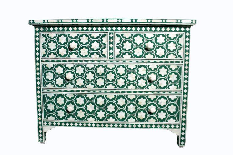 BONE INLAY 4 DRAWER CHEST / EMERALD