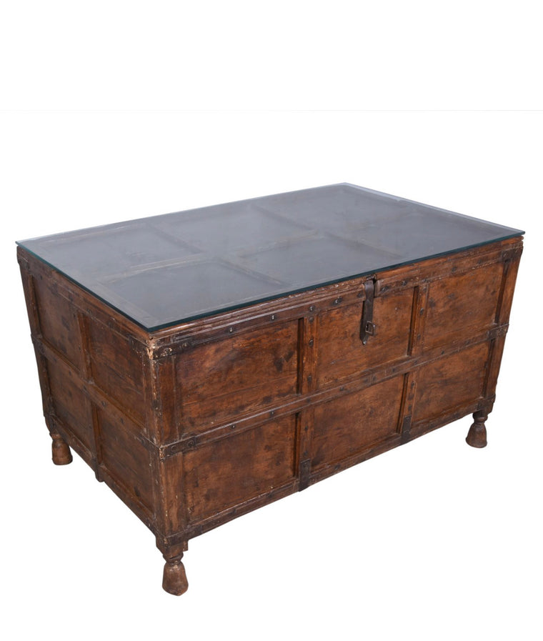 VINTAGE INDIAN CHEST W GLASS TOP