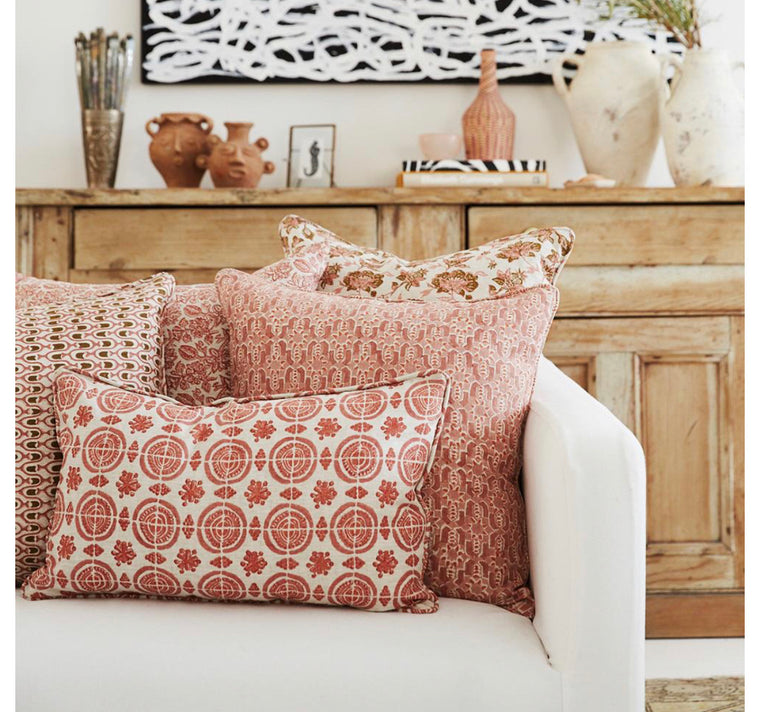 AMRELI GUAVA LINEN BLOCK PRINT CUSHION