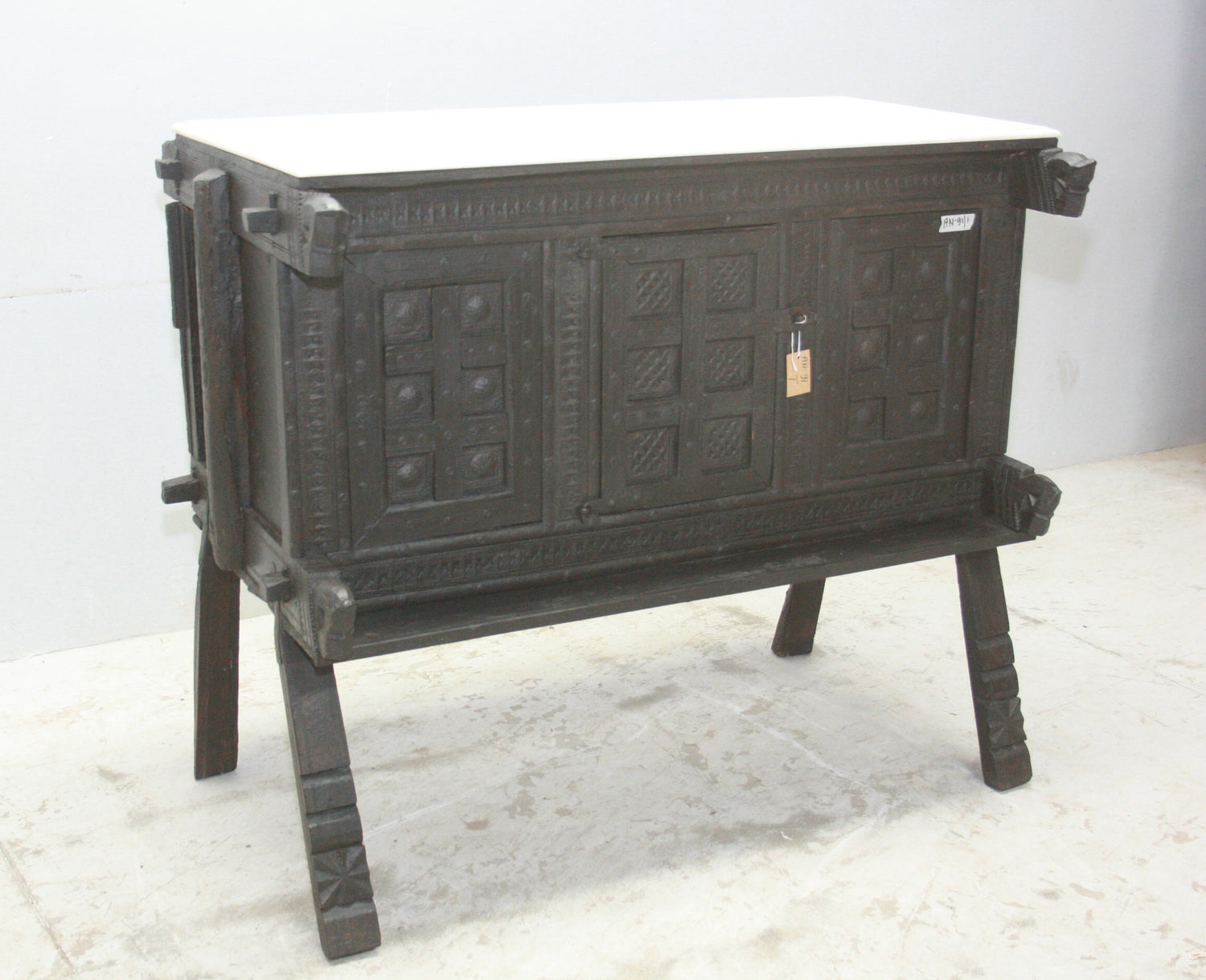 VINTAGE INDIAN MAJUCE CHEST W MARBLE TOP